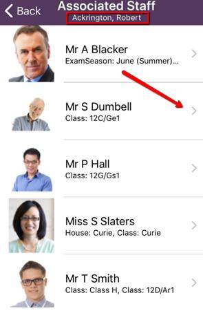 Studeint details - Associated staff