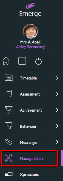 Manage users menu