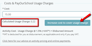 Costs and usage charges