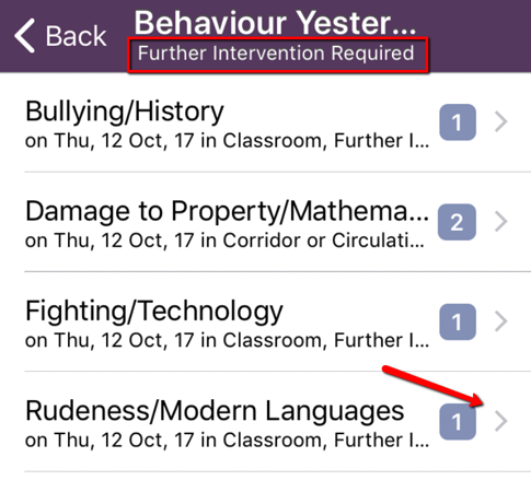 Pick a behaviour category