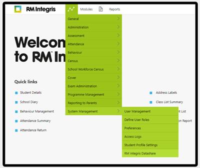 RM datashare menu
