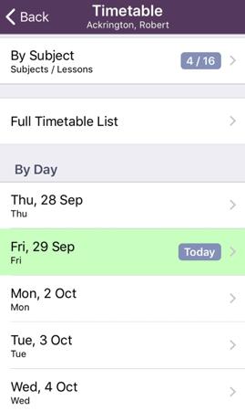 Student Details - Timetable