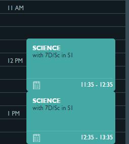 Timetable - lesson tile