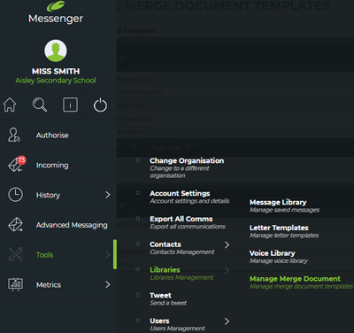 Manage merge document