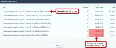 View a list of URLs